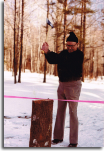 A lumberjack at heart, Art chose to cut the ribbon in a manner fitting of his background.